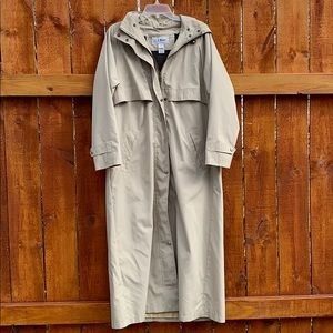 LL Bean Full Length Wool Lined Trench Coat